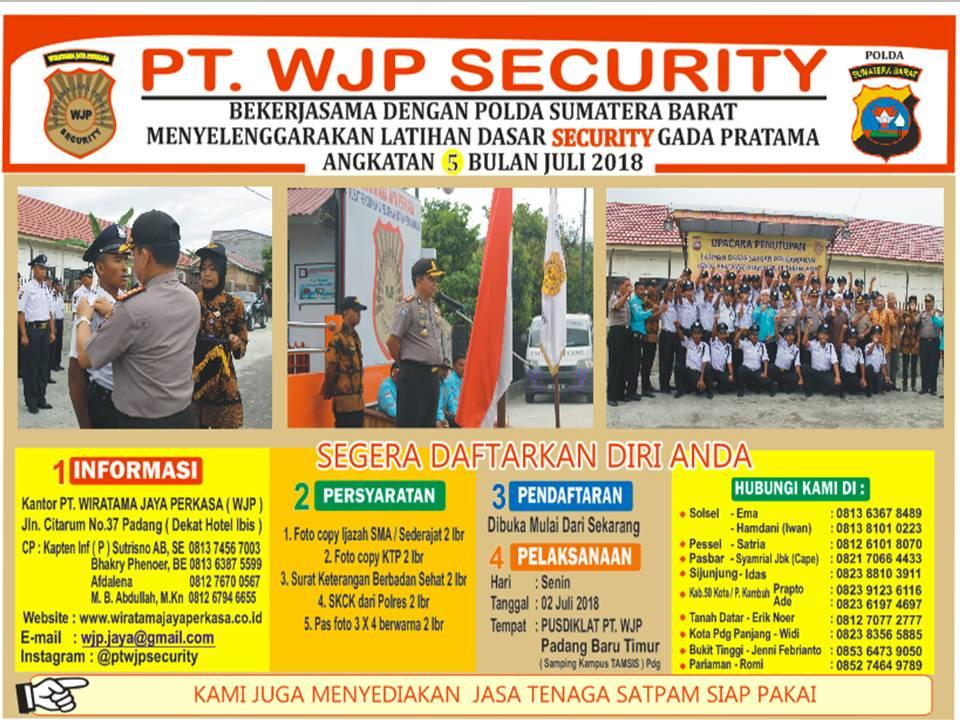 Pelatihan Dasar Security Gada Pratama angkatan 5 bulan Juli 2018 | PT Wiratama Jaya Perkasa